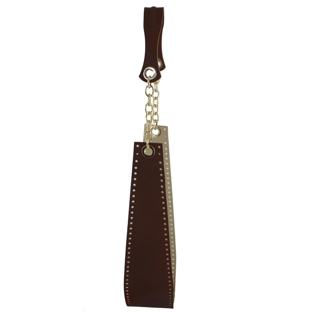 manici borsa finta pelle nera 2 pezzi 70 cm
